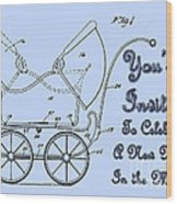 Patent Art Robinson Baby Carriage Invite-blue Wood Print
