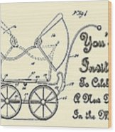 Patent Art Robinson Baby Carriage Invite Yellow Wood Print
