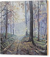 Path In The Woods Wood Print by Andrei Attila Mezei