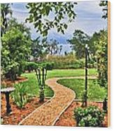 Garden Path To Wild Marsh Wood Print