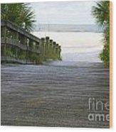 Path To The Empty Beach Wood Print