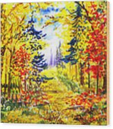 Path To The Fall Wood Print