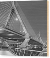 Path To The Leonard P. Zakim Bridge Bw Wood Print