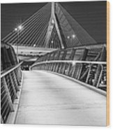 Path To The Zakim Bridge Bw Wood Print