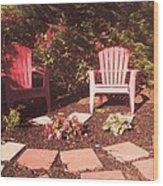 Patio Garden Wood Print