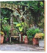 Patio Garden In The Rain Wood Print