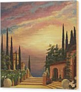 Patio Il Tramonto Or Patio At Sunset Wood Print by Evie Cook
