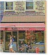 Patisserie Les Saveurs Du Plateau Pique Nique Et Emporter Montreal Cafe Scene Art By Carole Spandau  Wood Print