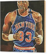 Patrick Ewing New York Knicks Wood Print by Michael  Pattison