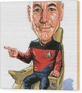 Patrick Stewart As Jean-luc Picard Wood Print