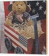 Patriot Bear Wood Print by Sharon Elliott