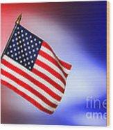 Patriotic American Flag Wood Print