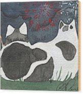 Patriotic Cats Wood Print