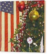 Patriotic Christmas Wood Print