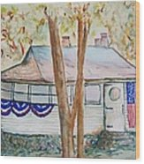 Patriotic Cottage Wood Print