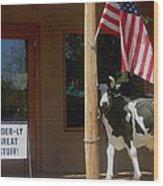 Patriotic Cow Cave Creek Arizona 2004 Wood Print