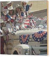 Patriotic Cowgirls Firetruck July 4th Parade Prescott Arizona 2002 Wood Print