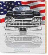 Patriotic Ford F100 1960 Wood Print