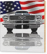 Patriotic Ford Mustang 1966 Wood Print