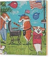 Patriotic Pups Wood Print