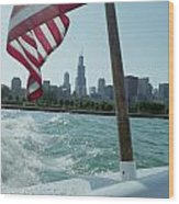 Patriotic Skyline Wood Print