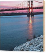 Patriotic Sunset Thru Bridge Wood Print