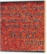 Pats Steaks - Rocky Plaque Wood Print