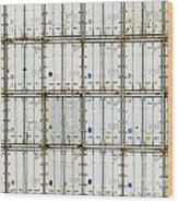 Pattern Of Shipping Container Stack At Depot Wood Print