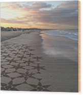 Patterns On Venice Beach Wood Print by Art Block Collections