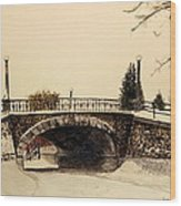 Patterson Creek Bridge In Winter Wood Print