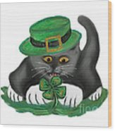 Patty The Grey Kitten Loves Four Leaf Clovers Wood Print