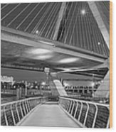 Paul Revere Park And The Zakim Bridge Bw Wood Print