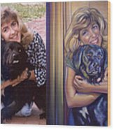 Paula Commissioned Portrait Side By Side Wood Print