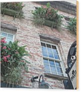 Paula Deen Savannah Restaurant Flower Boxes Wood Print by Kathy Fornal