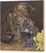 Paw In The Vase Wood Print