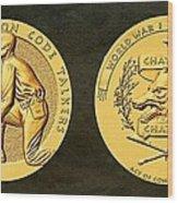 Pawnee Nation Tribe Code Talkers Bronze Medal Art Wood Print