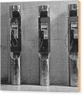 Pay Phones 2b Wood Print