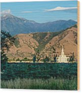 Payson Temple Mountains Wood Print