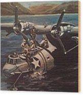 Pby 5 Loading At Pearl Harbor Wood Print