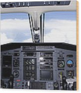 Pc 12 Cockpit Wood Print