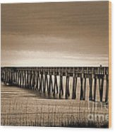 Pc Beach Pier Wood Print