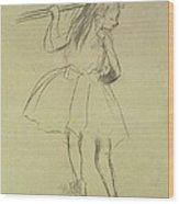 Girl Dancer At The Barre Wood Print