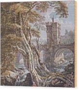 View Of The Old Welsh Bridge Wood Print