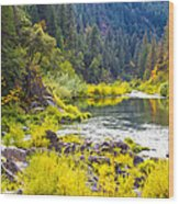 Peace And Tranquility In The Heart Of Feather River, Quincy California Wood Print