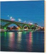 Peace Bridge And Buffalo Lights Wood Print