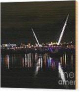 The Peace Bridge At Night Wood Print