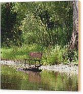 Peace By The River Wood Print