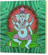 Peace Ganesh Dancing Wood Print