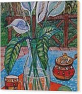 Peace Lilies On The Patio Wood Print