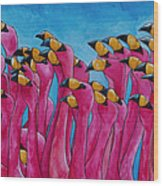 Peace Love And Flamingos Wood Print by Patti Schermerhorn